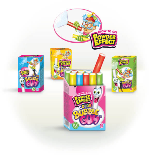 Color bubble gum + Powder Effect